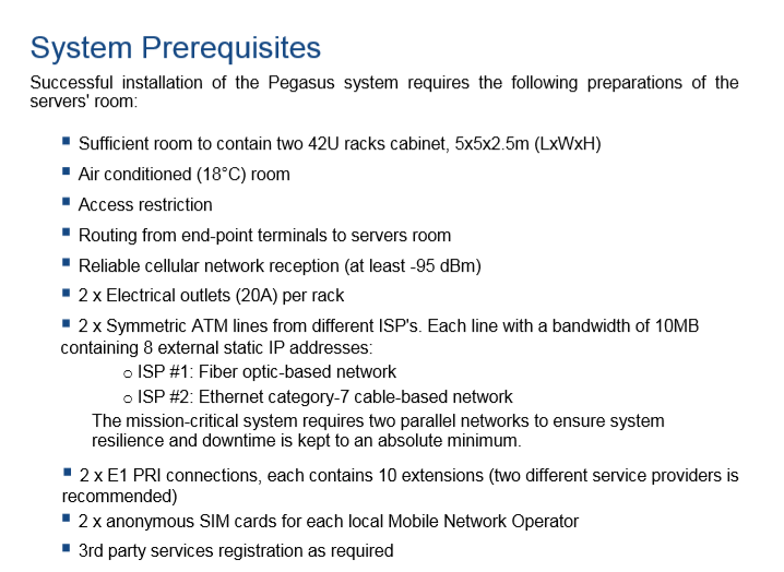 Very strict system requirements make it clear that the Pegasus system isn't small or simple, nor is it a simple C2 server.